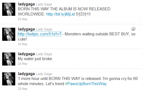 Gaga uses Twitter to entertain and amuse her fans.