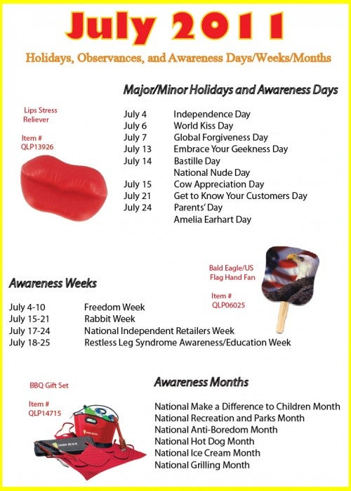 July 2011 Holidays, Observances, Awareness Dates