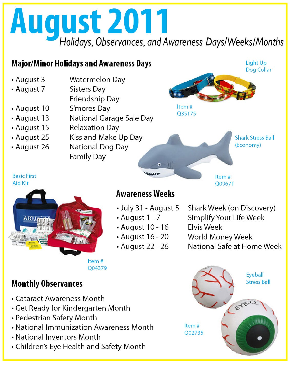 Calendar Monthly Observances : August calendar holidays observances