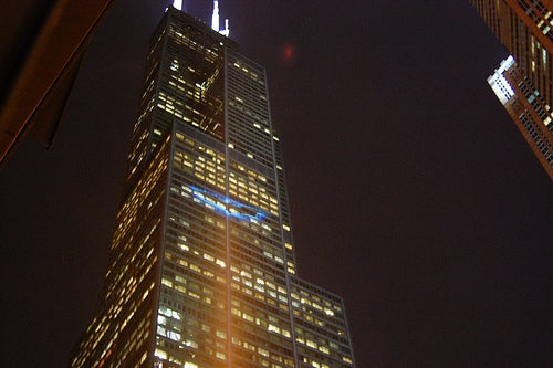 Bat signal on the Sears Tower