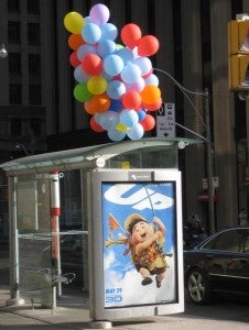Pixar's Up bus stop