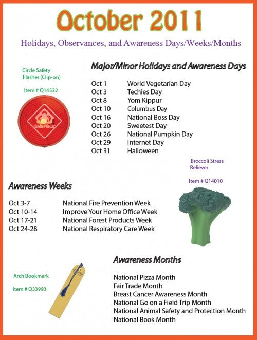 October 2011 Holidays, Observances, and Awareness Dates