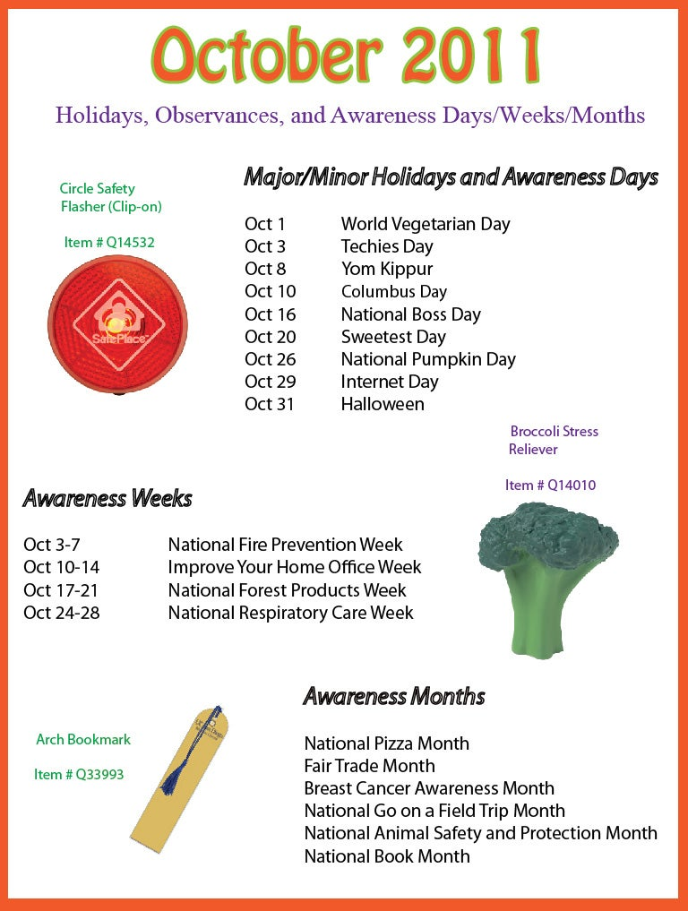 ... 2012 Holidays, Observances, and Awareness Dates: Plan Your Promotions