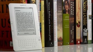 Kindle on a Bookshelf