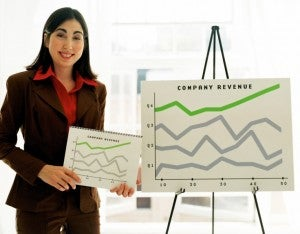 line graph businesswoman statistic office