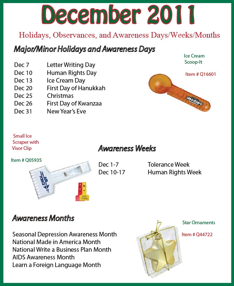 December 2011 Holidays, Observances, and Awareness Dates