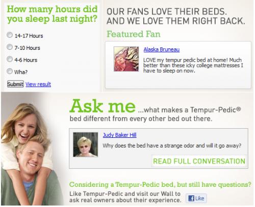 facebook welcome page tempurpedic