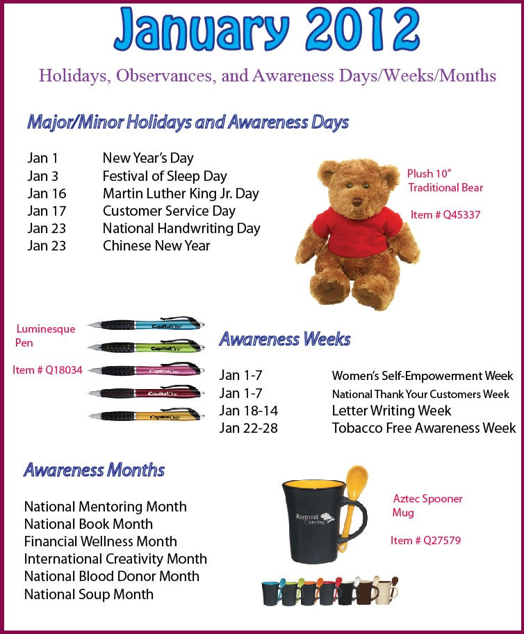 January 2012 Holidays, Observances, and Awareness Dates