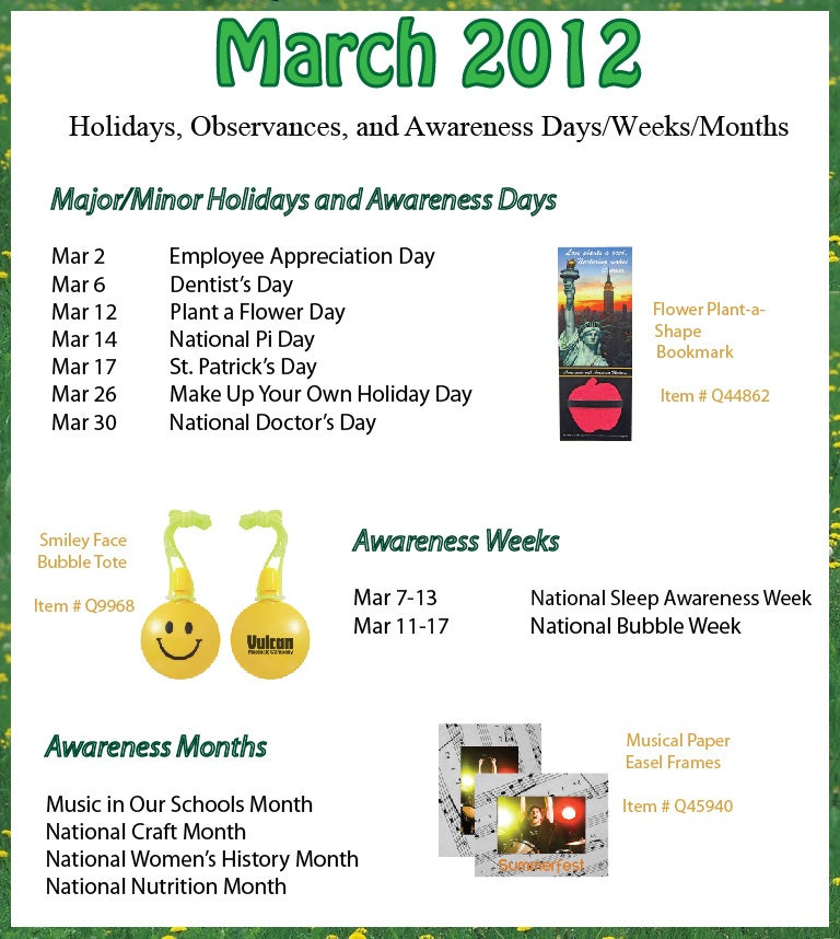 March 2012 Holidays, Observances, and Awareness Dates