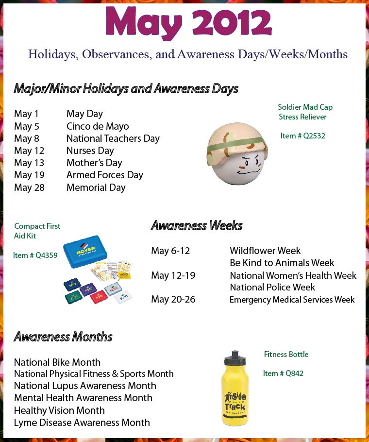 May 2012 Holidays, Observances, and Awareness Dates