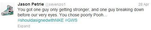 Jason Petrie's Tweet