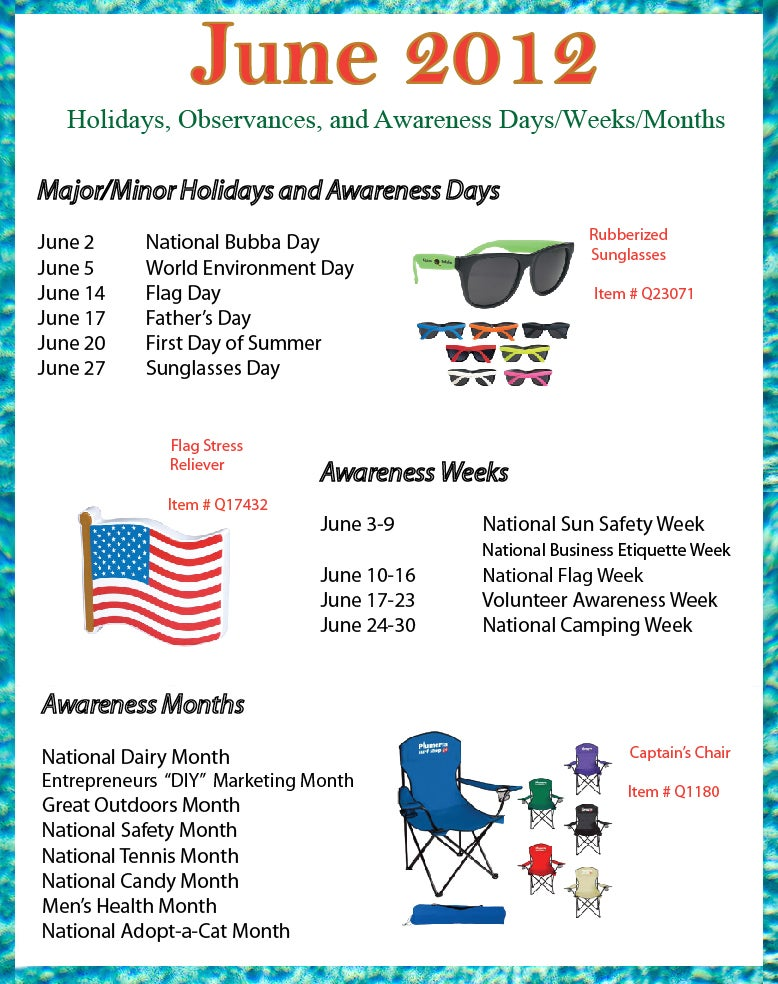 June 2012 holidays, observances, and awareness dates