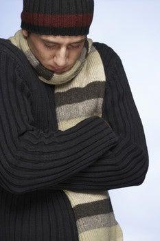Cold man bundled up