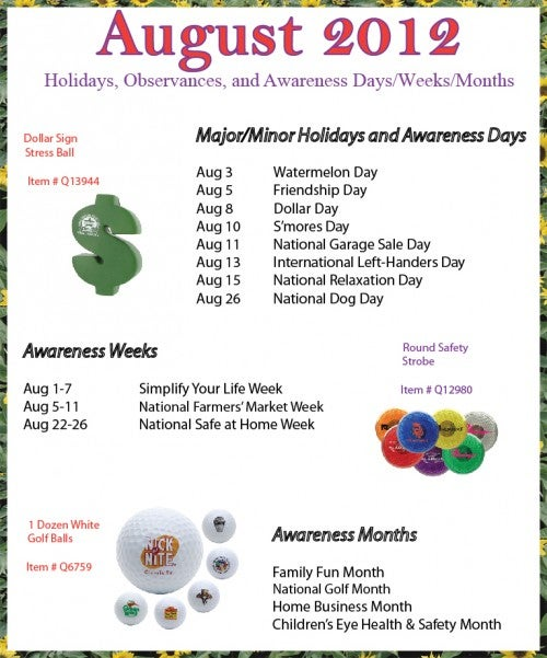 August 2012 Holidays, Observances, Awareness Dates