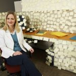 Sticky notes are good promo items, but not the best cubicle decor!