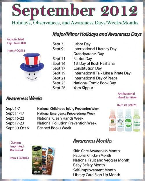 September 2012 Holidays, Observances, and Awareness Dates