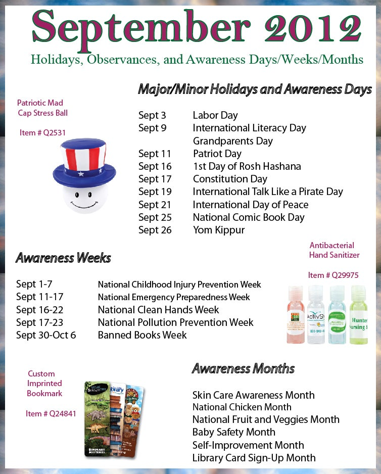 September 2012 Holidays, Observances, and Awareness Dates