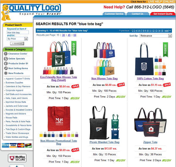 search results quality logo products