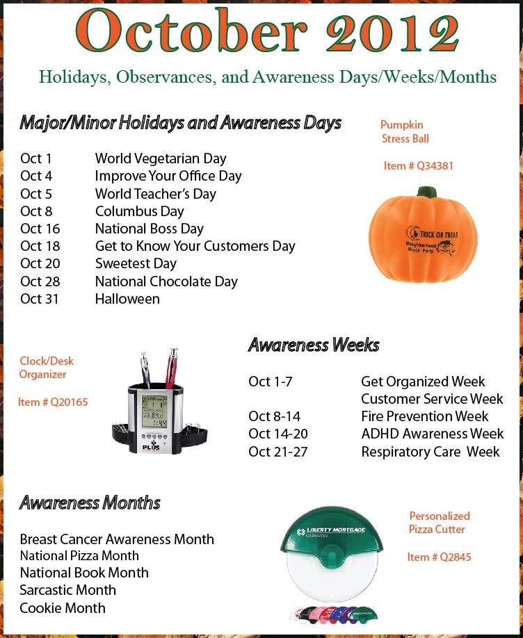 October 2012 Holidays, Observances, Awareness Dates