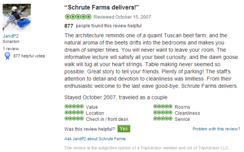 Jim and Pam's TripAdvisor review