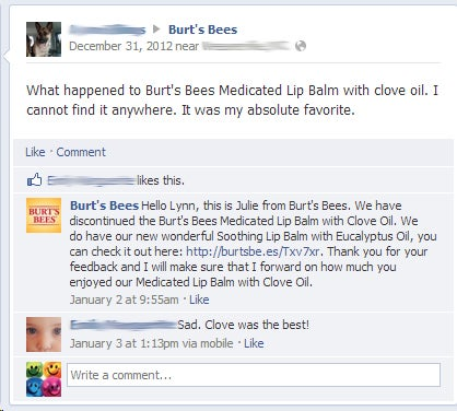 burts bees facebook screencap