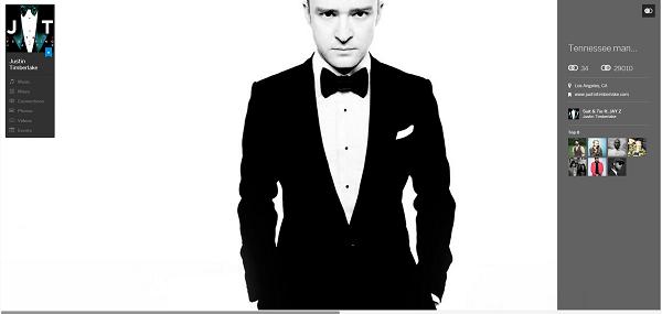 Justin Timberlake Myspace Profile Page