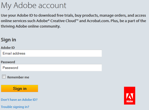 Adobe Sign-in