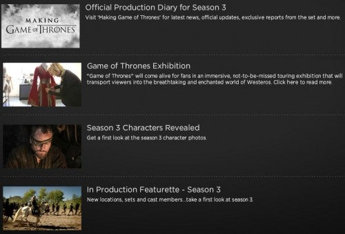 GoT season 3 extra features