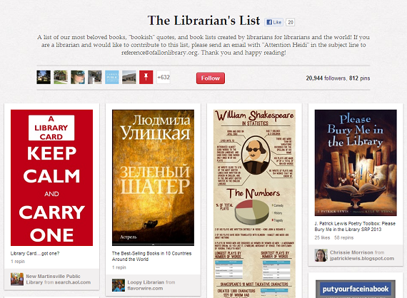 The library belongs to a group Pinterest board with hundreds of other libraries and librarians!