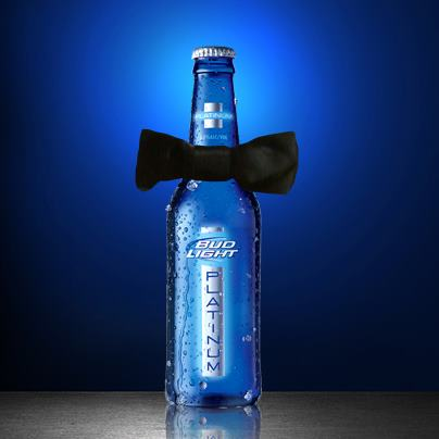 A rather dapper looking bottle of Bud Light Platinum