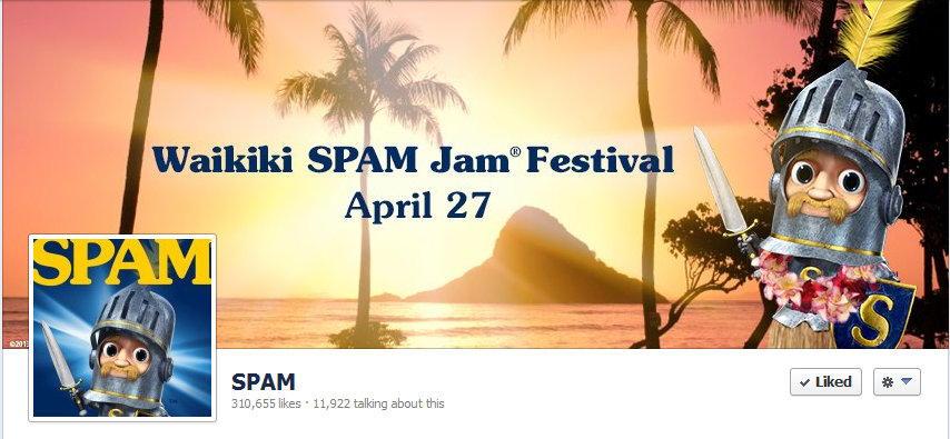 Their Facebook cover photo ties in Sir Can-A-Lot for one cohesive branding effort