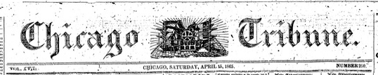Chicago Tribune's masthead from 1865