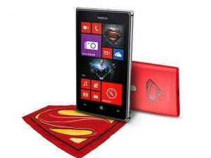 Cross promotion with Nokia. Comes with a pillow charger, red lumia charging plate, and a thin rubber man of steel phone case.