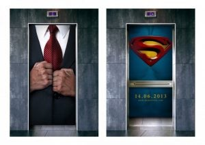 Ambient ads on elevator doors