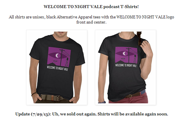 welcome to night vale tshirts