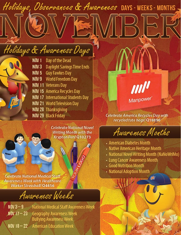 November 2013 Holidays Observances Awareness Dates