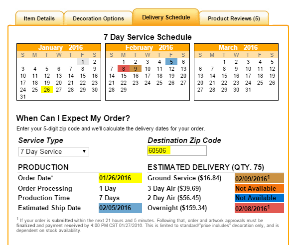 delivery schedule tab image