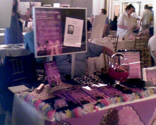 Catherine Dougherty uses a lot of purple, leopard, and even a jelly bean dispenser at her table!