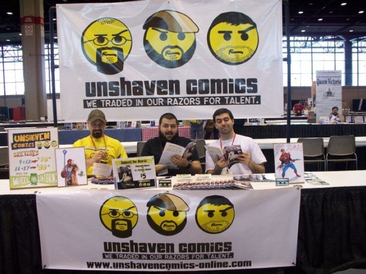 Unshaven Comics makes sure you know they're present, even before they start pitching their books.