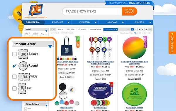 WebFeatures-SearchBy-TradeShowGiveAways-LogoShape