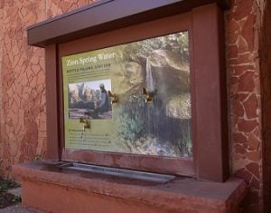 A water filling station at Zion National Park