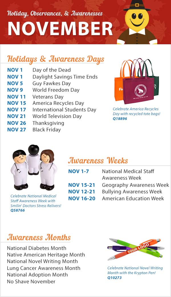 November 2015 Holidays, Observances, and Awareness Dates: Plan Your ...