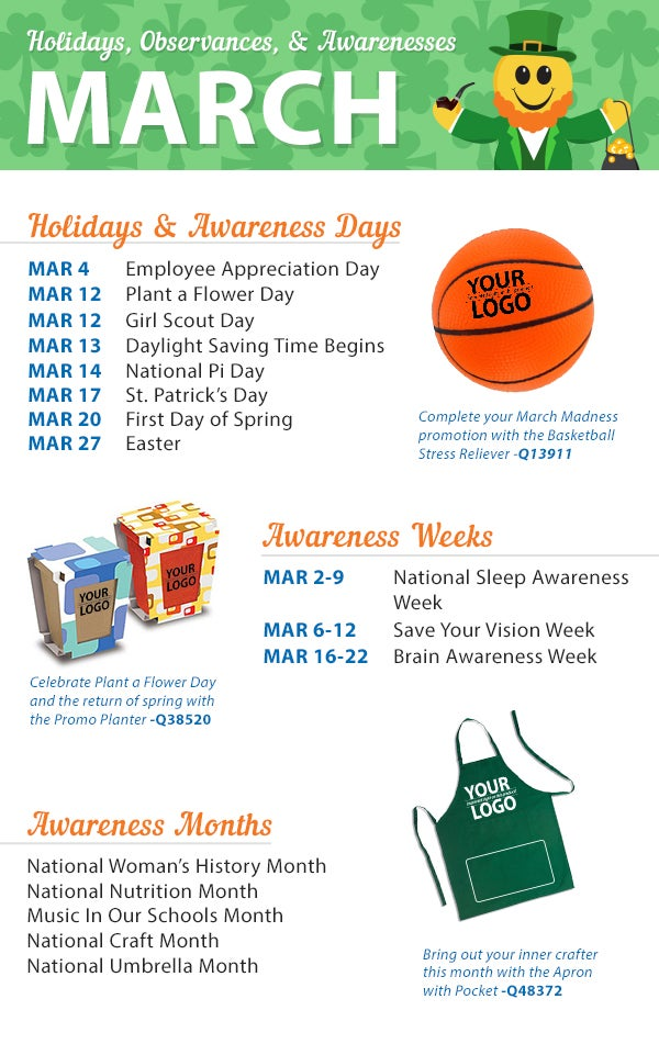 Calendar Monthly Observances : March holidays observances awareness dates