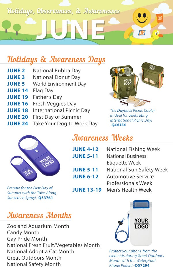 Health Calendar Design : June holidays observance and awareness dates plan