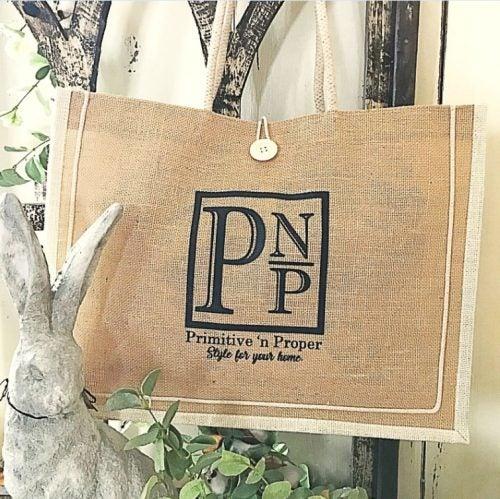Primitive 'n Proper Jute Tote Bags