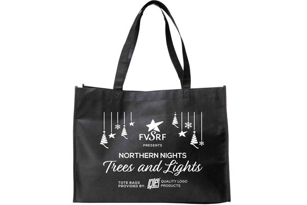 Tote bags donated to the Fox Valley Special Recreation Foundation for their annual fundraiser, Northern Nights Trees and Lights