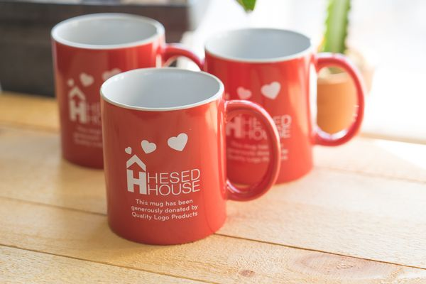 Coffee mugs donated to Hesed House for their Champions of Hope Breakfast