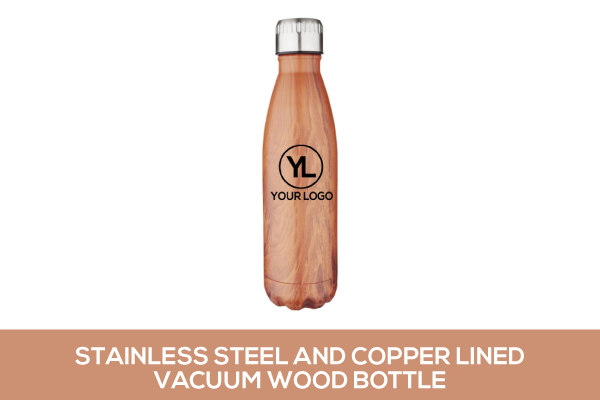 Stainless Steel and Copper Lined Vacuum Faux Wood Bottle
