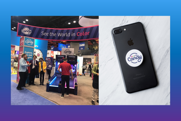 Candy popsocket at trade show
