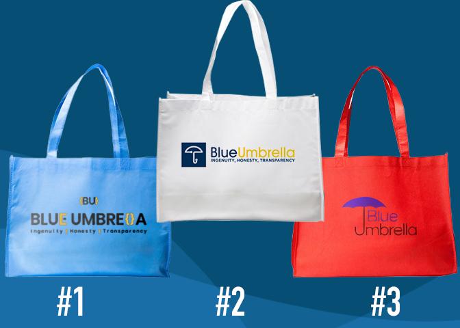 Blue umbrella tote bags